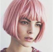 pink bob with bangs hair