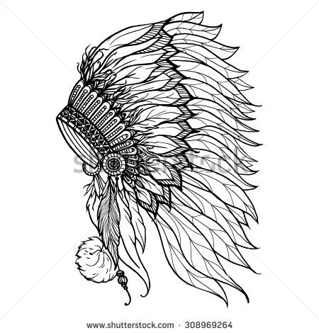 Doodle headdress for native american indian chief isolated