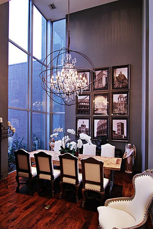 Formal Dining Room Exhibits High Ceilings Floor To