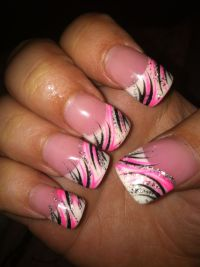 Pink Black nail design | Nail Designs | Pinterest | Silver ...