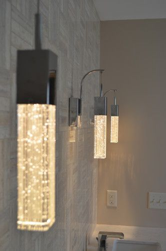 classic luxury bathroom lights – something like this in a pendant light would be