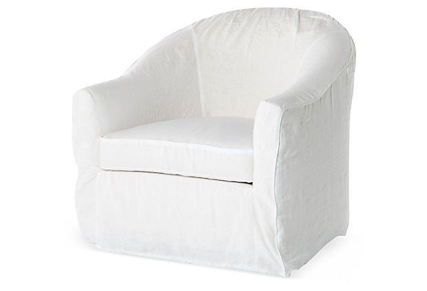 swivel chair small leather wing back chairs barrel slipcover chair, white on onekingslane.com | things for the cottage home pinterest ...