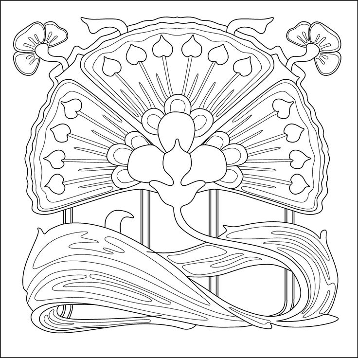 Art nouveau flower. Colouring page, pattern for embroidery