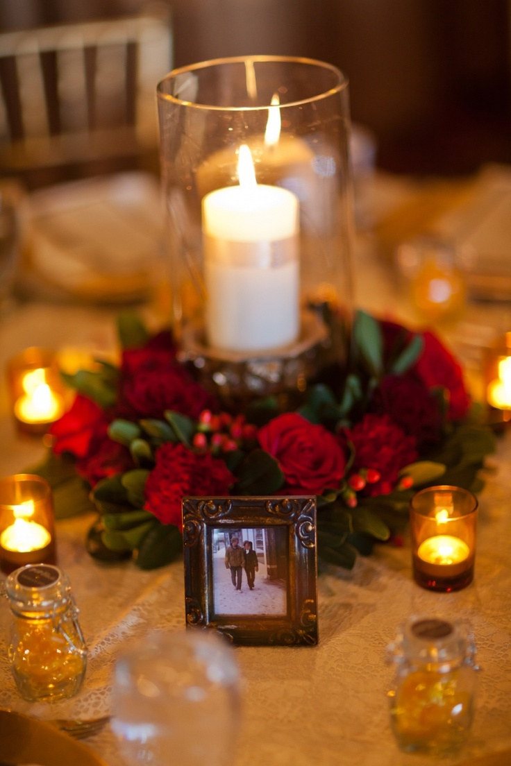 Red and Gold Floral Centerpiece  Envision Weddings 2011  Pinterest  Minis The ojays and Red