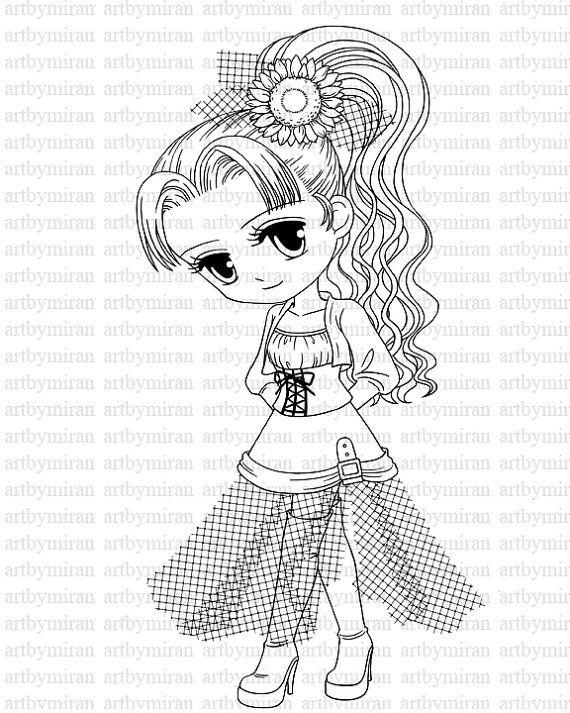 Shy Girl(#27) Digi Stamp, Digital Stamp, Big eyed girl
