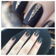 matte black nails with gold glitter