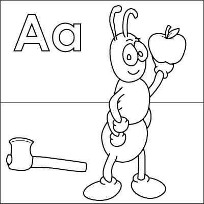 Letter A coloring page (Ant, Axe, Apple) from http://www