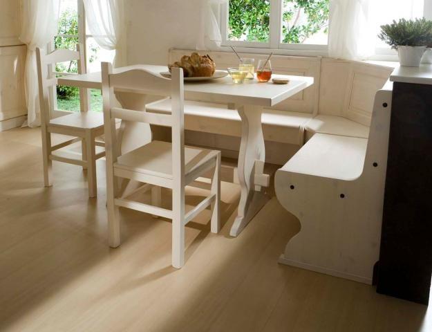 Soggiorno color Bianco composto da Giropanca Tavolo e 2