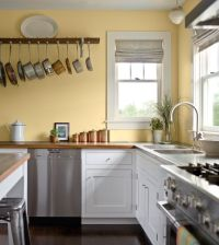 Pale yellow walls, white cabinets, wood counter tops ...