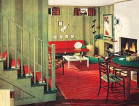 This archetypical, 50's rec-room basement features the ...