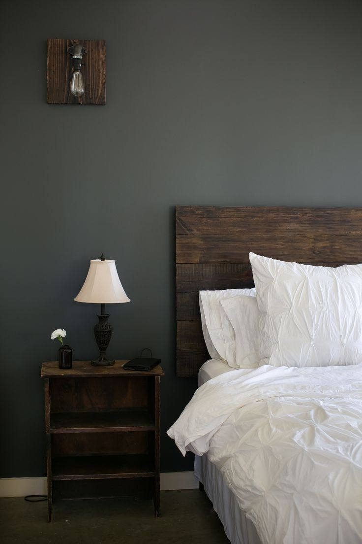 living rooms with dark gray walls affordable room furniture my bedroom is finally finished. i am in love. reclaimed ...