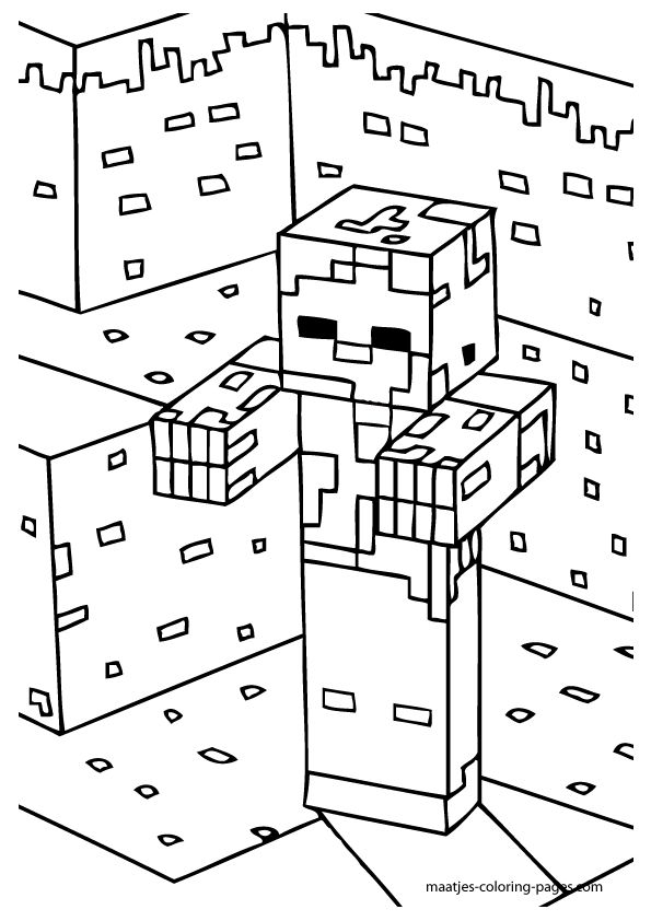 Minecraft Zombie Coloring Pages Collection