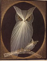 nail and thread art owl cool