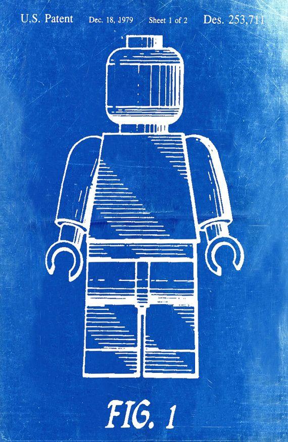 Lego Patent Blueprint Art Of A Lego Figurine Man Person