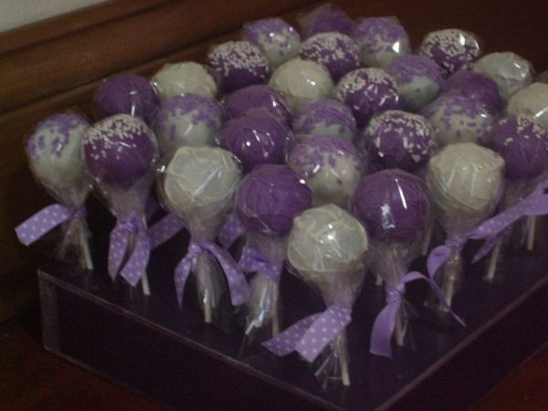 Purple and White Cake pops for Relay for Life bake sale