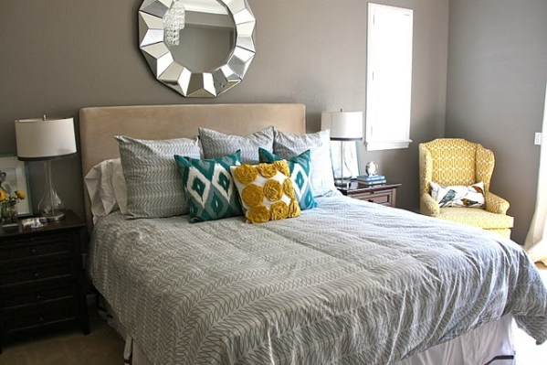 yellow and grey master bedroom Master Bedroom Ideablue, yellow, gray | Master Bedroom