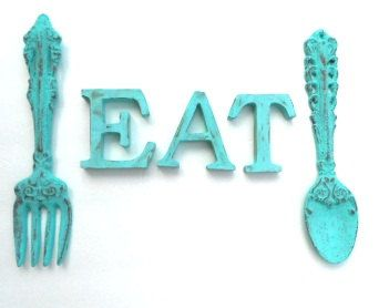 turquoise kitchen decor ikea island with seating my web value shabby chic cast iron fork and spoon eat for