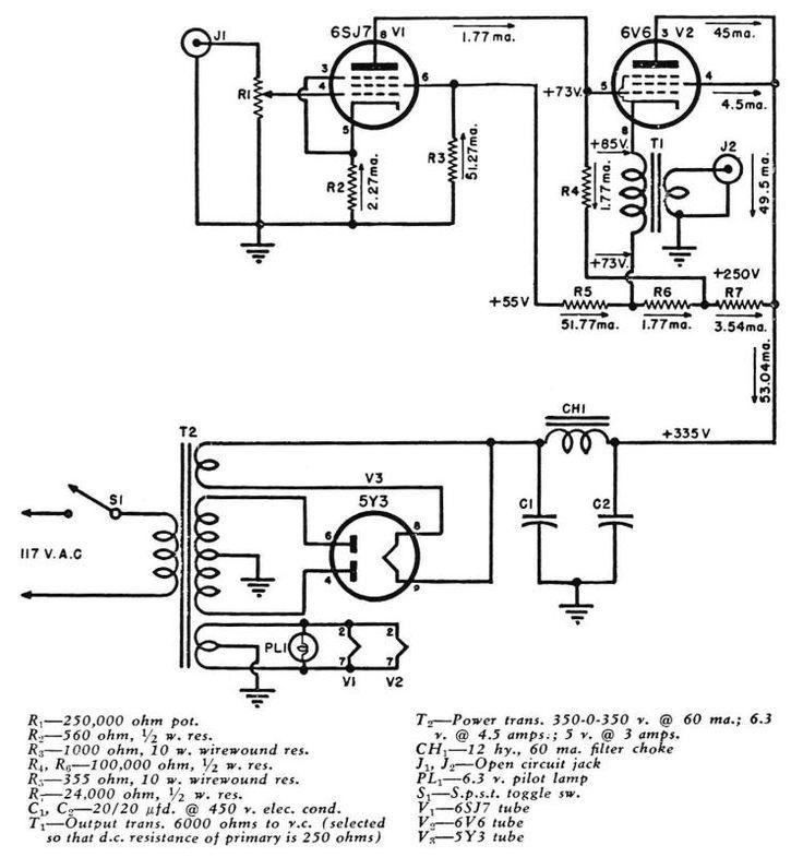 Прямой связью 6V6 катодный повторитель Tube Amp