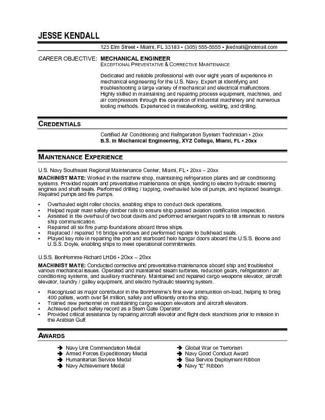 Resume Resume Objective Examples Mechanic objective in resume for mechanical engineer it examples software cover letter
