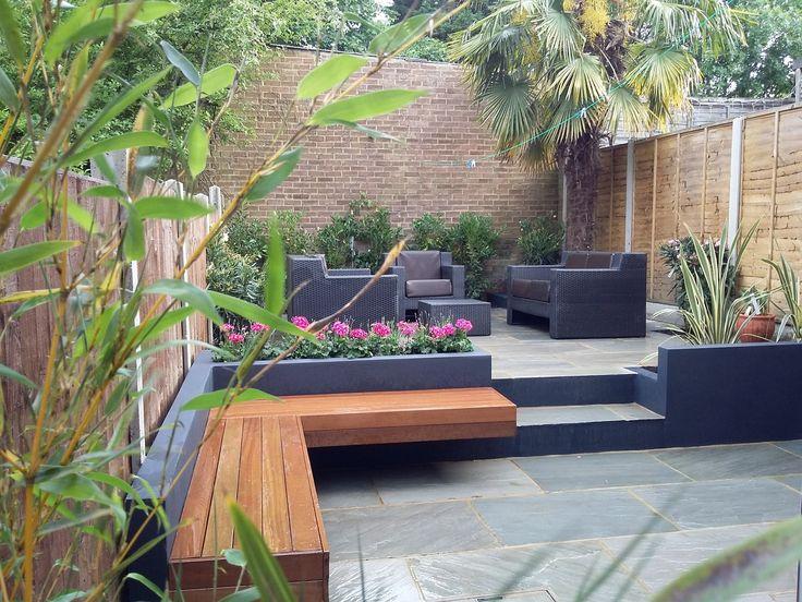 modern garden design london natural sandstone paving patio design hardwood floating bench grey