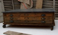 Plan chest coffee table with zinc top. Somewhere to store ...
