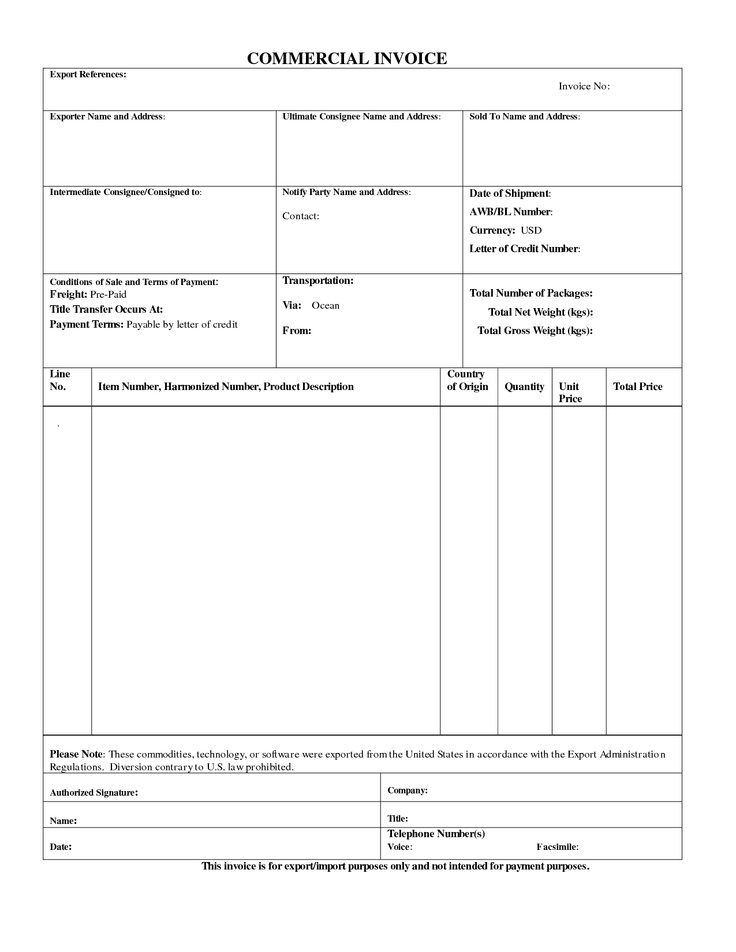 Commercial Export Invoice Sample Business Form #