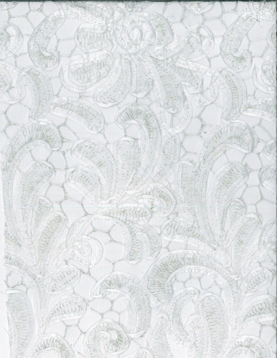Bridal Inspirations Fabric- Ribbon Embroidered Mesh White