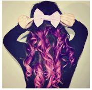 purple dip dye hair with cute