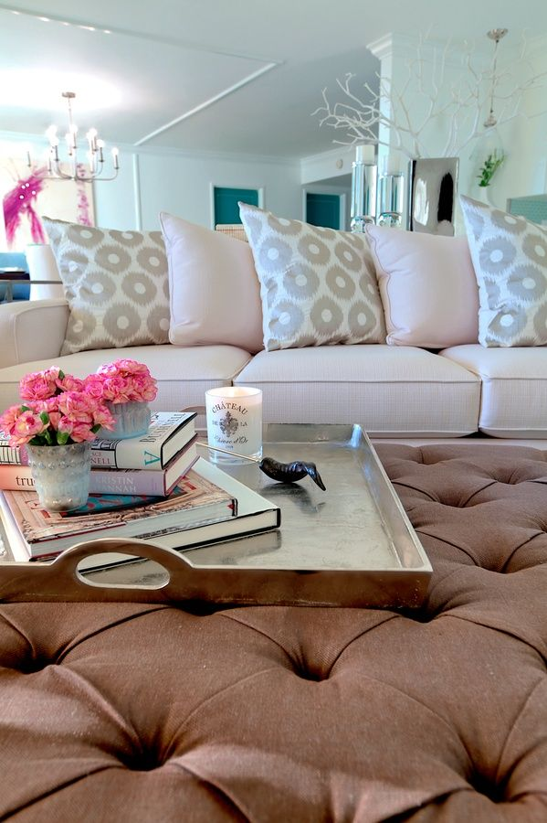 color sofas living room interior paint design ideas for small rooms tray on ottoman in room. | home sweet ...