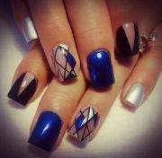 royal blue silver nail design
