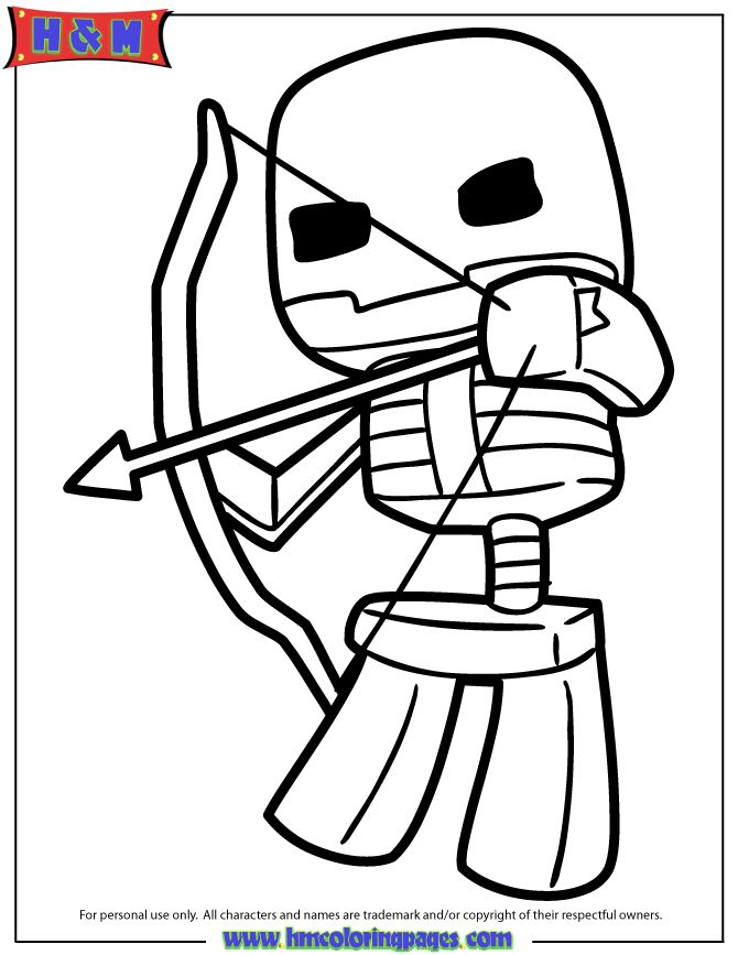 minecraft-skeleton-shooting-bow-and-arrow-coloring-page