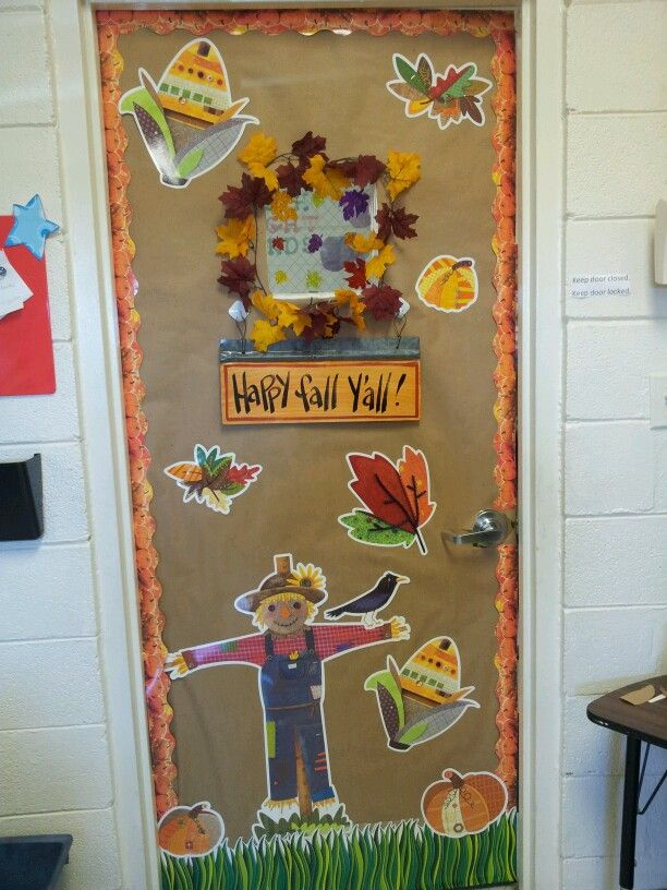 Fall classroom door with CTP's Autumn Harvest Decorator