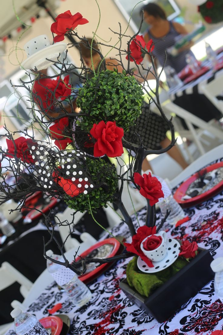 Centerpieces Black White And Red Mad Hatter Tea Party