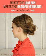 bun with braided headband hair