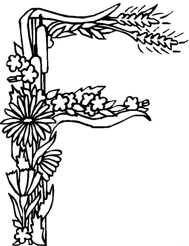 Adult Coloring Page Floral Letters Alphabet I Hand