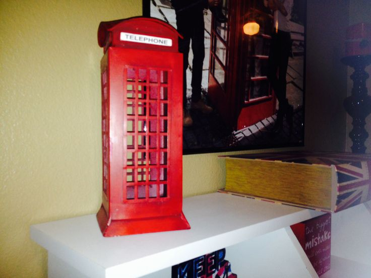 London phone booth candle holder  London themed bedroom