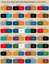 NFL Football Team Color Chart | So find your city name ...