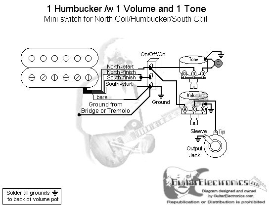 one humbucker volume wiring diagram