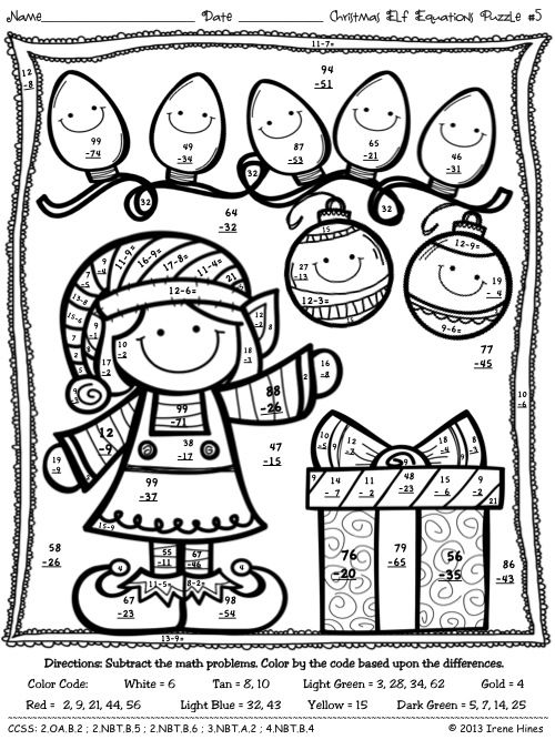 Christmas Elf Equations : Christmas Math Printables ~ Math