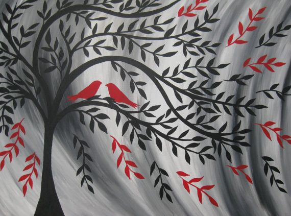 Red Black Silver Gray Grey White Tree Of Life With Birds