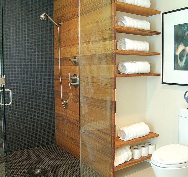BadezimmerRegalewandgestaltungholzglastrennwandduschkabine  Einrichtungsideen  Pinterest