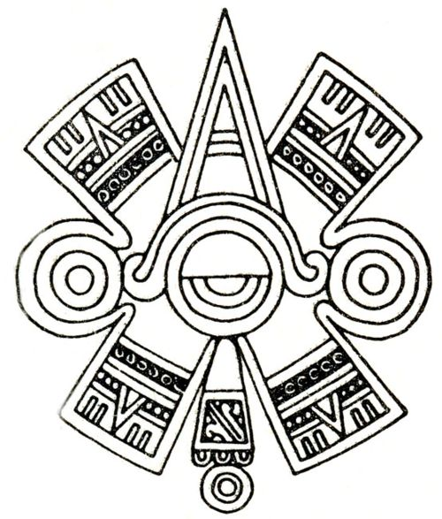 "Ollin. Aztec glyph symbol of ""centered"" Eye or Third Eye"