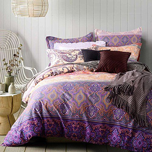 TheFit Paisley Bedding R59 Purple Style Boho Bedding Queen
