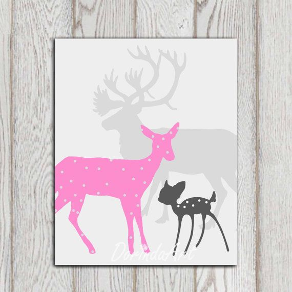 Pink Gray Little Girls Bedroom Decor Deer Family Print