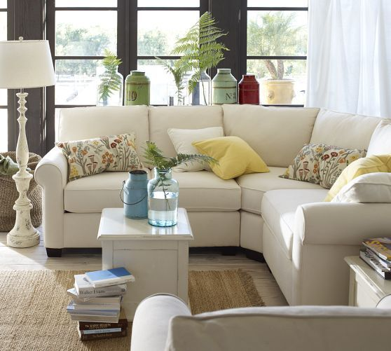I want  Buchanan Curved 3Piece Small Sectional with Wedge  Pottery Barn  Holly and Russ