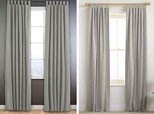 Gold Curtain Rod and gray curtains on the right  dining