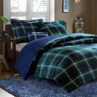 Teen Boys Blue/Plaid Twin XL-Full/Queen Comforter Set Dorm ...
