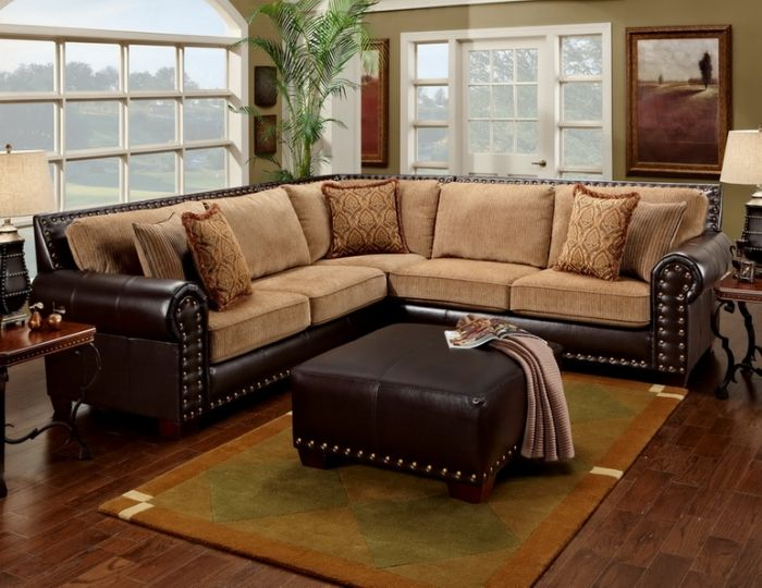 Leather Studded Sectional Home Pinterest Two Tones