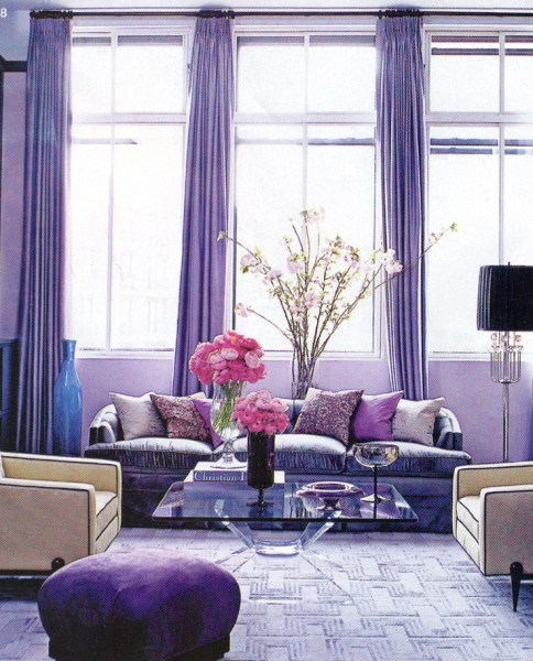 blue and purple living room Purple based living room with glass coffee table. Great example for my living room decor! | Home