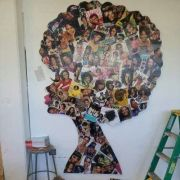 creative natural afro silhouette